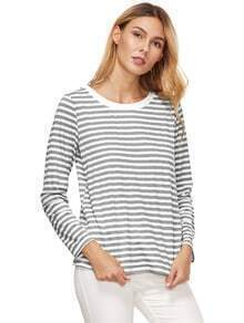 Dark Grey Striped Long Sleeve T-Shirt