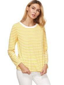 Yellow Striped Long Sleeve T-Shirt