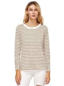 Khaki Striped Long Sleeve T-Shirt