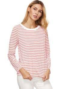 Camiseta rayada de manga larga de color rosa