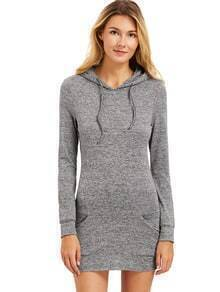 Grey Drawstring Hooded Sweatshirt With Pocket