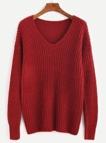 Burgundy Ribbed Knit Drop Shoulder Sweater