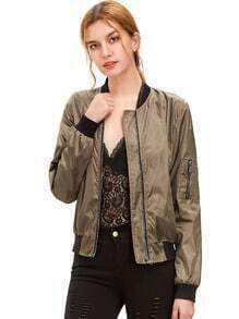 Burgundy Long Sleeve Zipper Pockets Jacket