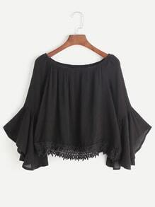 Black Boat Neck Bell Sleeve Contrast Crochet Hem Top