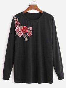 Black Flower Embroidered Patch Sweatshirt