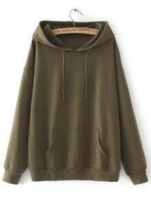 Army Green Drawstring Hooded Sweatshirt With Pocket