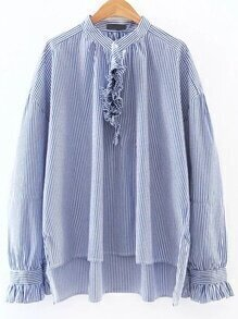 Blue Contrast Striped Ruffle Trim Blouse