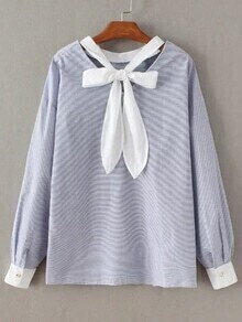 Blue Striped Bow Tie V Neck Blouse