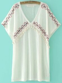 White Embroidery Tassel Trim Long Blouse