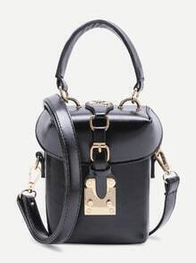 Black PU Bucket Shoulder Bag With Handle