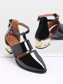 Black Pearl Design Back Zipper Patent Leather Shoes