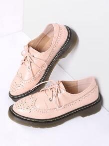 Pink Lace Up PU Flat Shoes
