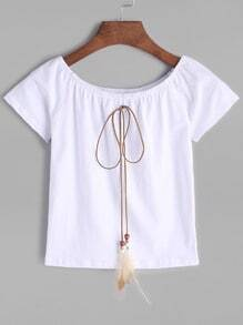 White Boat Neck Lace Up T-shirt
