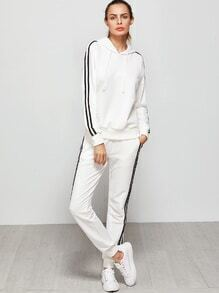 White Striped Sideseam Hooded Sweat Suit