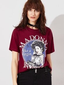Burgundy Graphic Print Short Sleeve T-shirt
