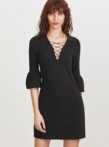 Black Lace Up V Neck Bell Cuff Dress