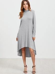 Grey Cowl Neck High Low Swing Dress