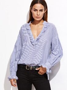 Blue Vertical Striped Deep V Neck Ruffle Blouse