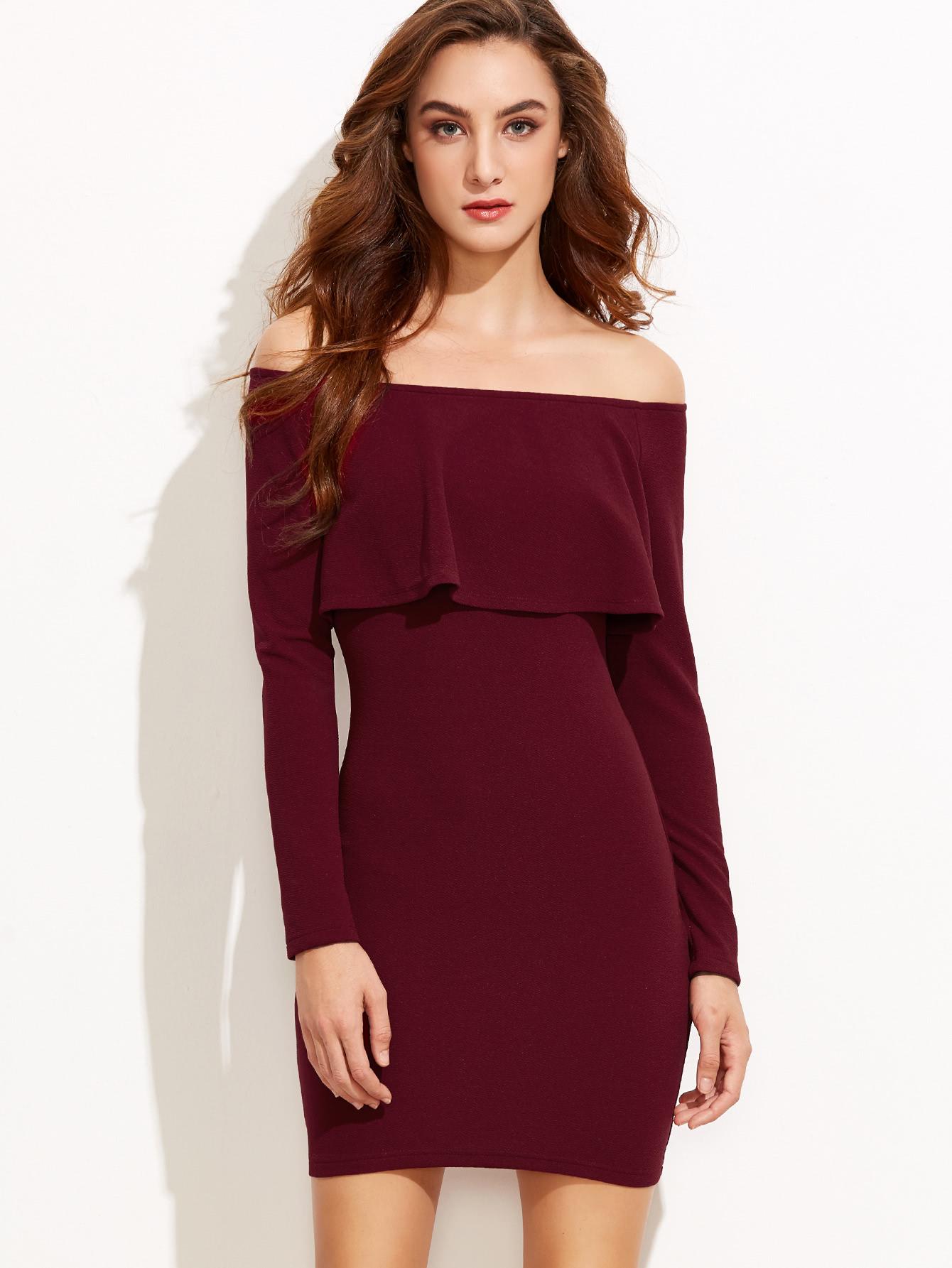 Burgundy off the shoulder bodycon dress neck