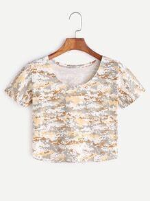 Camouflage Print Crop T-shirt