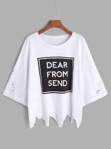 White Slogan Print Ripped Cuffed Asymmetric T-shirt