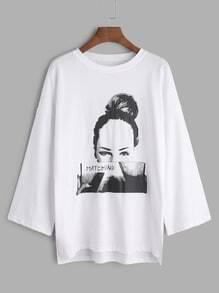 White Printed Drop Shoulder Slit Side High Low T-shirt
