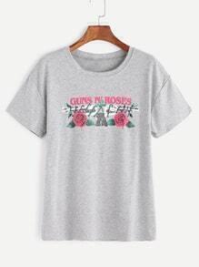 Heather Grey Letter Print T-shirt