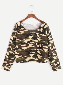 Camouflage Print Raglan Sleeve T-shirt