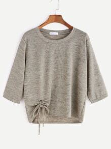Khaki Eyelet Tie Hem T-shirt