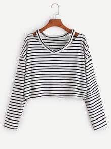 Black White Striped Cut Out Neck T-shirt