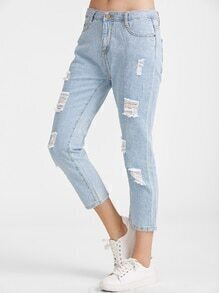 Light Blue Ripped Ankle Jeans