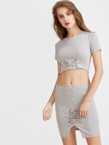 Heather Grey Knot Tie Detail Crop Top With Skirt