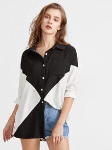 Color Block Slit Side High Low Pocket Shirt