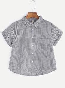 Black And White Tartan Plaid Cuffed Shirt