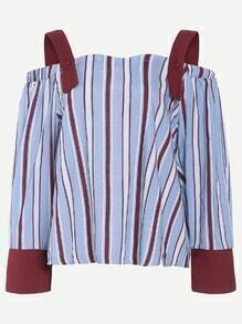 Contrast Striped Detachable Strap Blouse