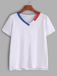 White Contrast Trim V Neck T-shirt