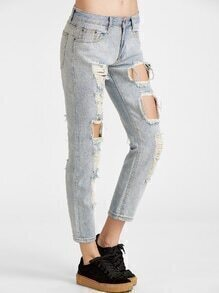 Light Wash Distressing Ripped Jeans