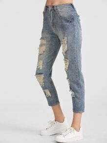 Pale Blue Wash Ripped Jeans