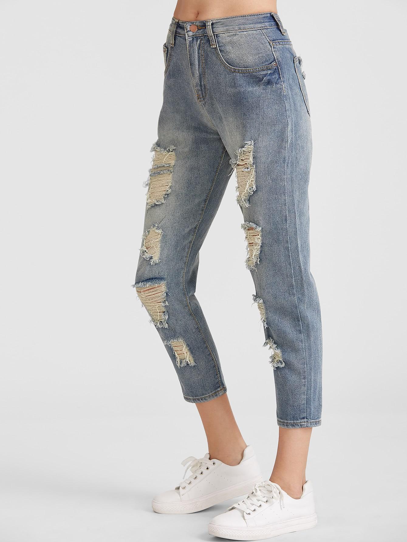 zerrissene jeans gewaschen effekt hellblau german romwe. Black Bedroom Furniture Sets. Home Design Ideas