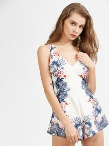 V Neck Flower Print Zipper Back Romper
