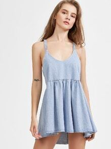 Blue High Low Denim Cami Dress