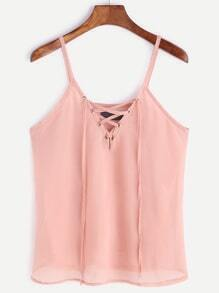 Pink Lace Up Front Chiffon Cami Top