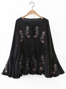 Black Flower Embroidery Bell Sleeve Tassel Tie Blouse