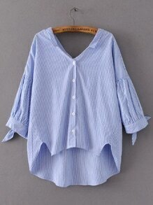 Blue Striped Tie Cuff High Low Blouse