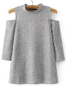 Grey Ribbed Open Shoulder Knitwear