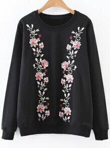 Black Flower Embroidery Sweatshirt