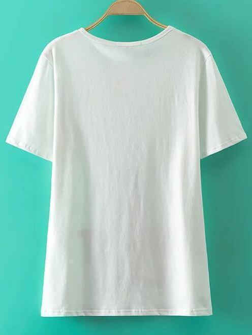 imprimer t shirt blanc lettre french romwe. Black Bedroom Furniture Sets. Home Design Ideas