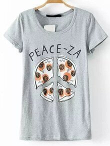 Grey Pizza Print T-shirt