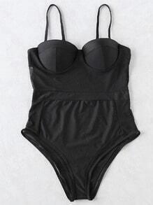 Black Sheer Mesh Design Bustier One-Piece Swimwear