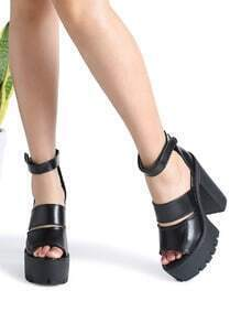 Black Ankle Strap Platform Chunky Heeled Sandals